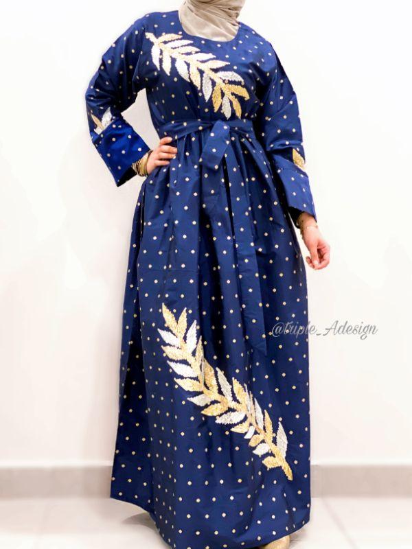 Blue gold dress