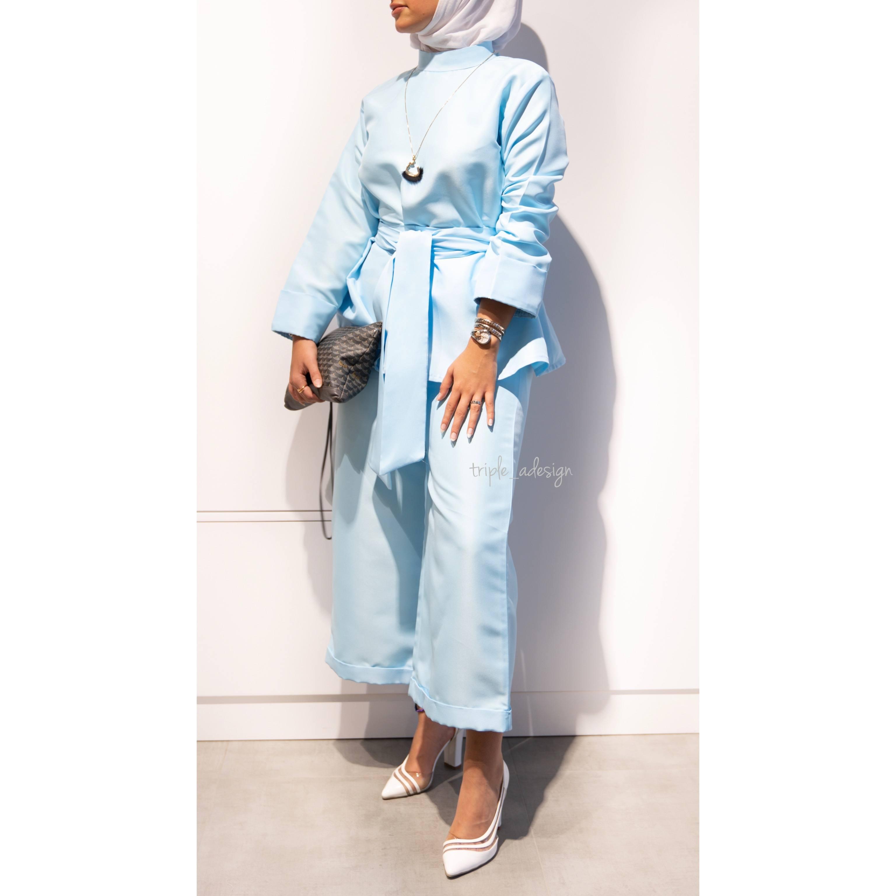 Baby blue suit