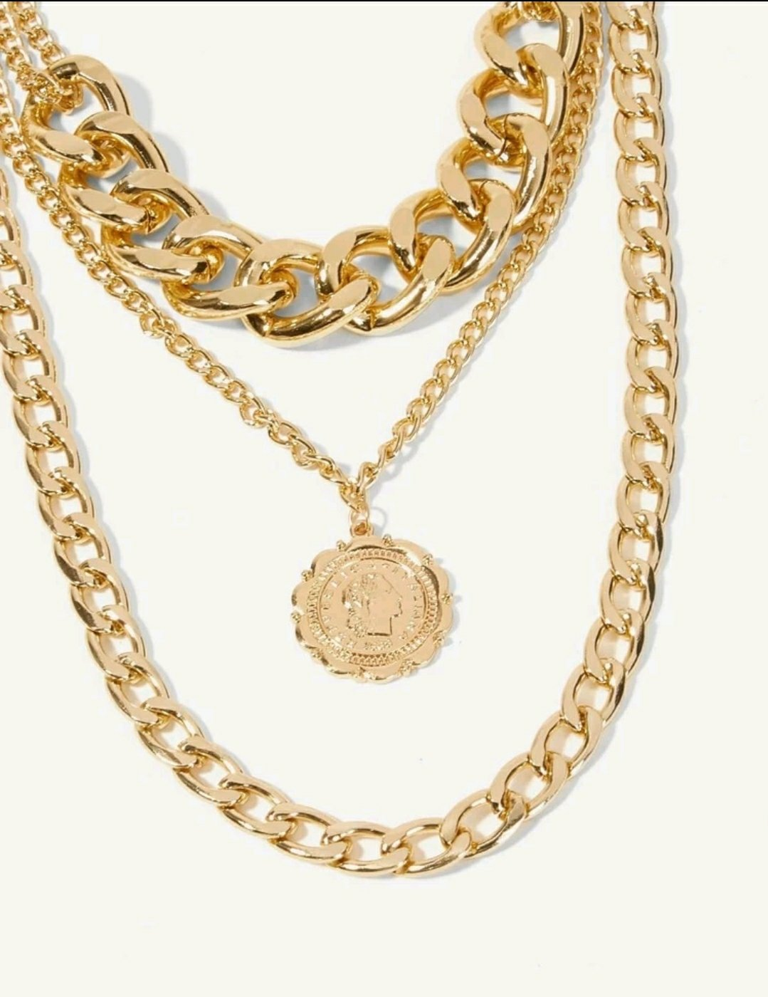 Italian Coin Pendant Layered Necklace