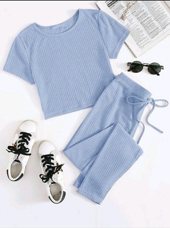 Rib Knit T-shirt & Pant Set