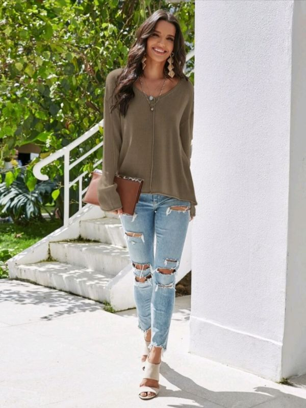 V-Neck Slouchy Sweater Top