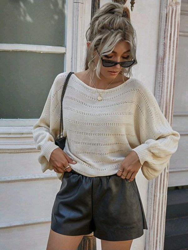 Solid Batwing Sweater