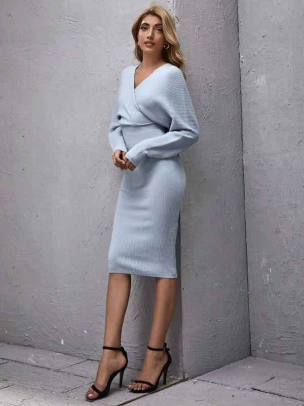 Baby Blue Pencil Skirt Sweater Dress